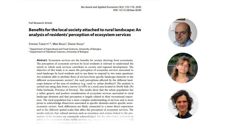 Benefits for the local society attached to rural landscape: An analysis of residents' perception of ecosystem services